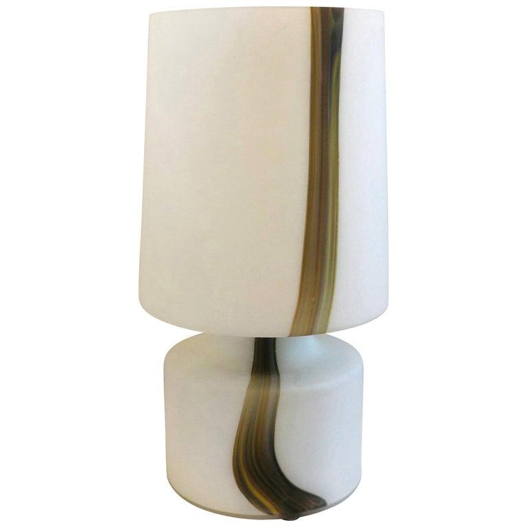 Italian Missoni Style White, Brown, Orange and Blue Murano Art Glass Table Lamp For Sale