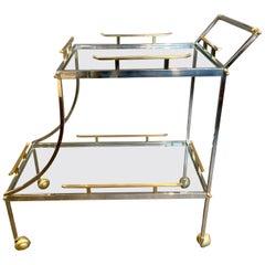 Italian Mixed Metal Two-Tier Bar Cart