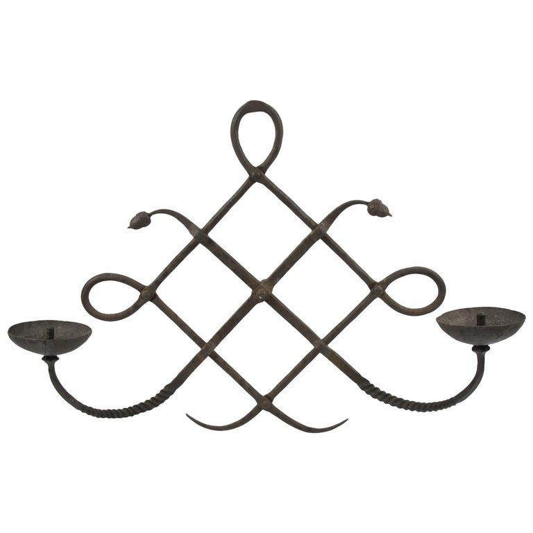 Italian Modarchitectura Wrought Iron Wall Mounted Candleholder Sconce For Sale