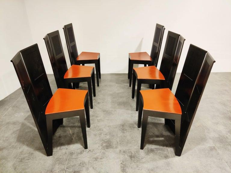 Italian Model Lubekka Dining Chairs by Andrea Branzi for Cassina, 1990s Set of 6 8
