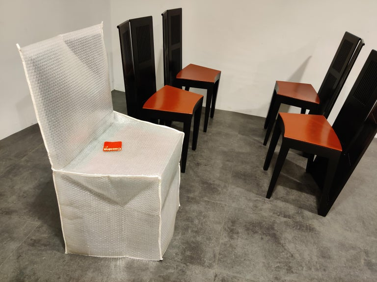 Italian Model Lubekka Dining Chairs by Andrea Branzi for Cassina, 1990s Set of 6 10