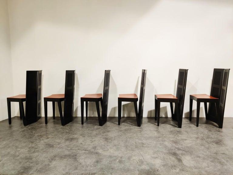Post-Modern Italian Model Lubekka Dining Chairs by Andrea Branzi for Cassina, 1990s Set of 6