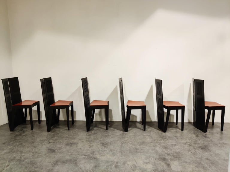 Late 20th Century Italian Model Lubekka Dining Chairs by Andrea Branzi for Cassina, 1990s Set of 6