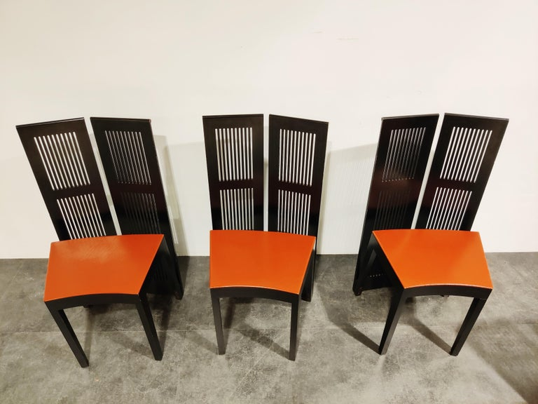 Leather Italian Model Lubekka Dining Chairs by Andrea Branzi for Cassina, 1990s Set of 6