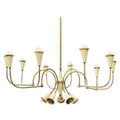 Italian Modern 14 Lights Brass Chandelier, 1950s