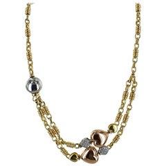 Italian Modern 18 Karat Yellow White Rose Gold Diamond Heart Link Necklace