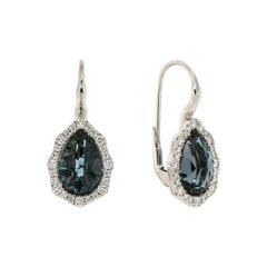 Italian Modern 18k London Blue Topaz Diamonds White Gold Earrings for Her