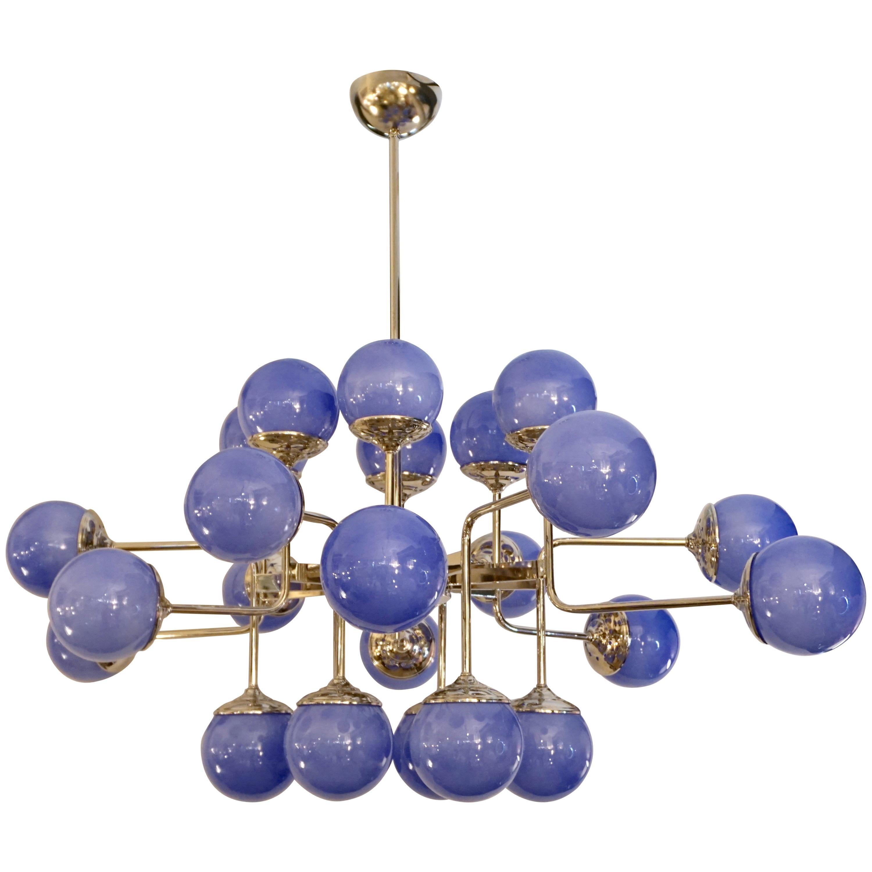 Italian Modern 24-Light Lavender Periwinkle Murano Glass Nickel Chandelier