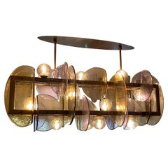 Italian Modern Amber & Amethyst Murano Glass Gold Bronze Double Frame Chandelier
