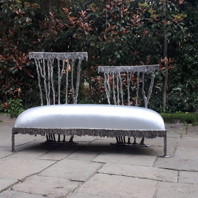 Italian Modern Annibale Oste for Dilmos Two-Seat Sofa Cast Aluminum Fabric For Sale 2