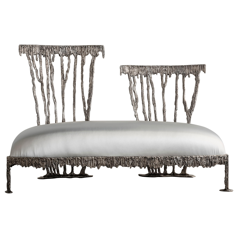 Italian Modern Annibale Oste for Dilmos Two-Seat Sofa Cast Aluminum Fabric