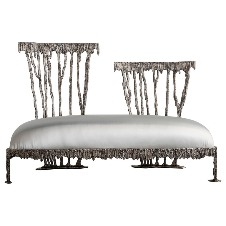 Italian Modern Annibale Oste for Dilmos Two-Seat Sofa Cast Aluminum Fabric For Sale