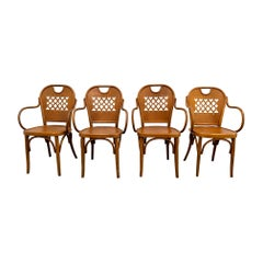 Italian Modern Bistro Dining Chairs 'Set 4', Bentwood, 1940s Thonet Style Wood