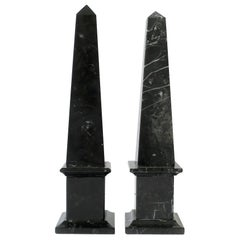 Pair of Italian Modern Black and White Marble Obelisks