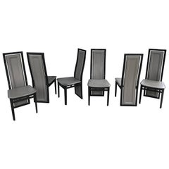Italian Modern Black Lacquer and Grey Leather Dining Chairs Set of Six