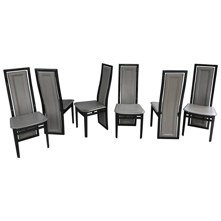Italian Modern Black Lacquer and Grey Leather Dining Chairs Set of Six For Sale