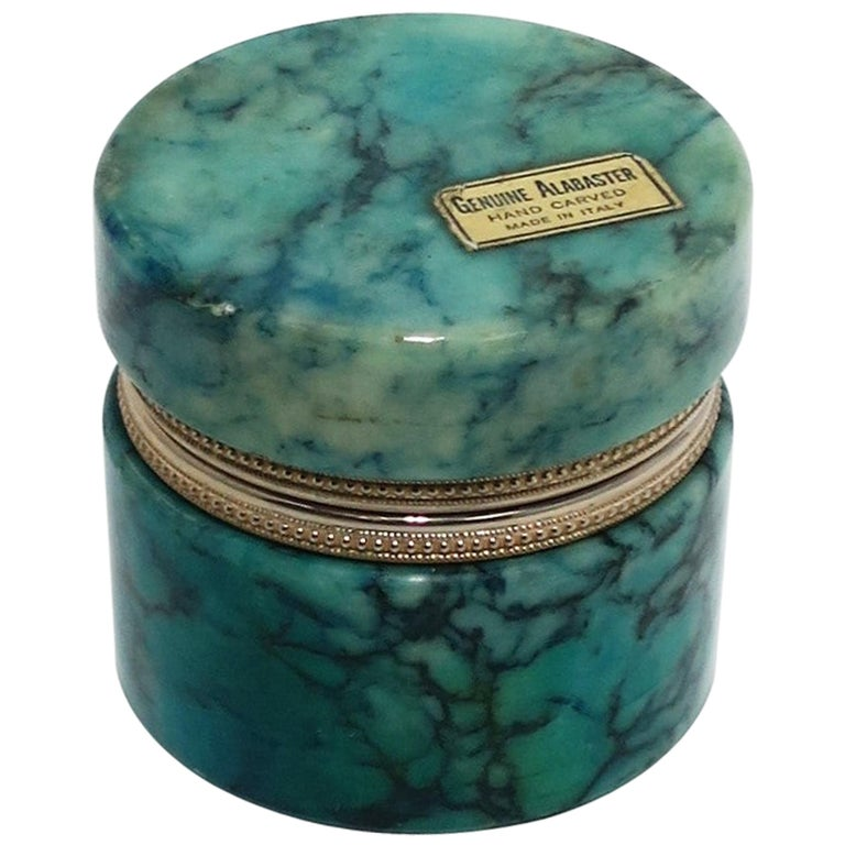 Italian Modern Alabaster Marble Round Jewelry Box For Sale