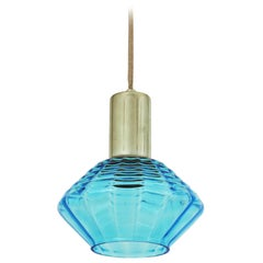 Italian Modern Blue Blown Glass and Chrome Suspension / Pendant Lamp