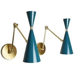 Italian Modern Brass and Blue Enamel Monolith Reading Lamp Blueprint Lighting