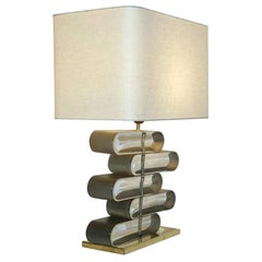 Italian Modern Brass and Bronze Murano Glass Architectural Table Lamp