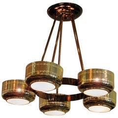 Italian Modern Brass and Bubble Glass Five-Light Chandelier, Stilnovo Attributed