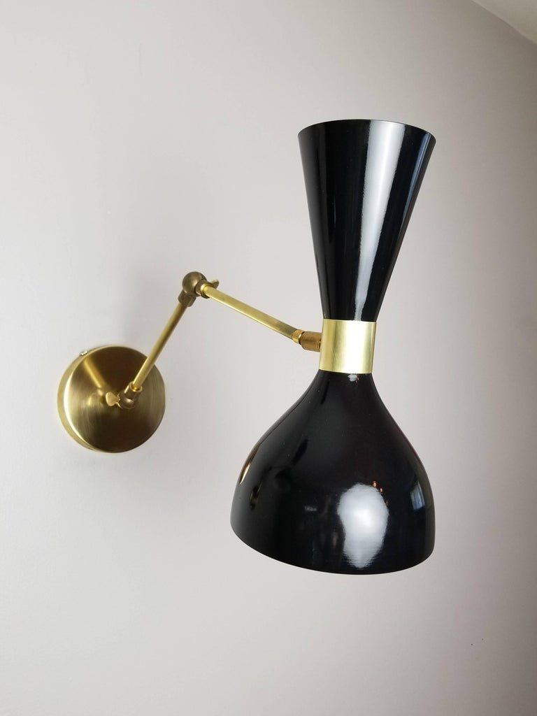 American Brass + Black Enamel 'Ludo' Wall Sconce or Reading Lamp, Blueprint Lighting NYC For Sale