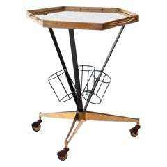 Italian Modern Brass and Glass Bar Cart, 1950s