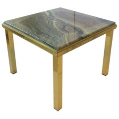 Italian Modern Brass and Marble End Table, circa 1970s