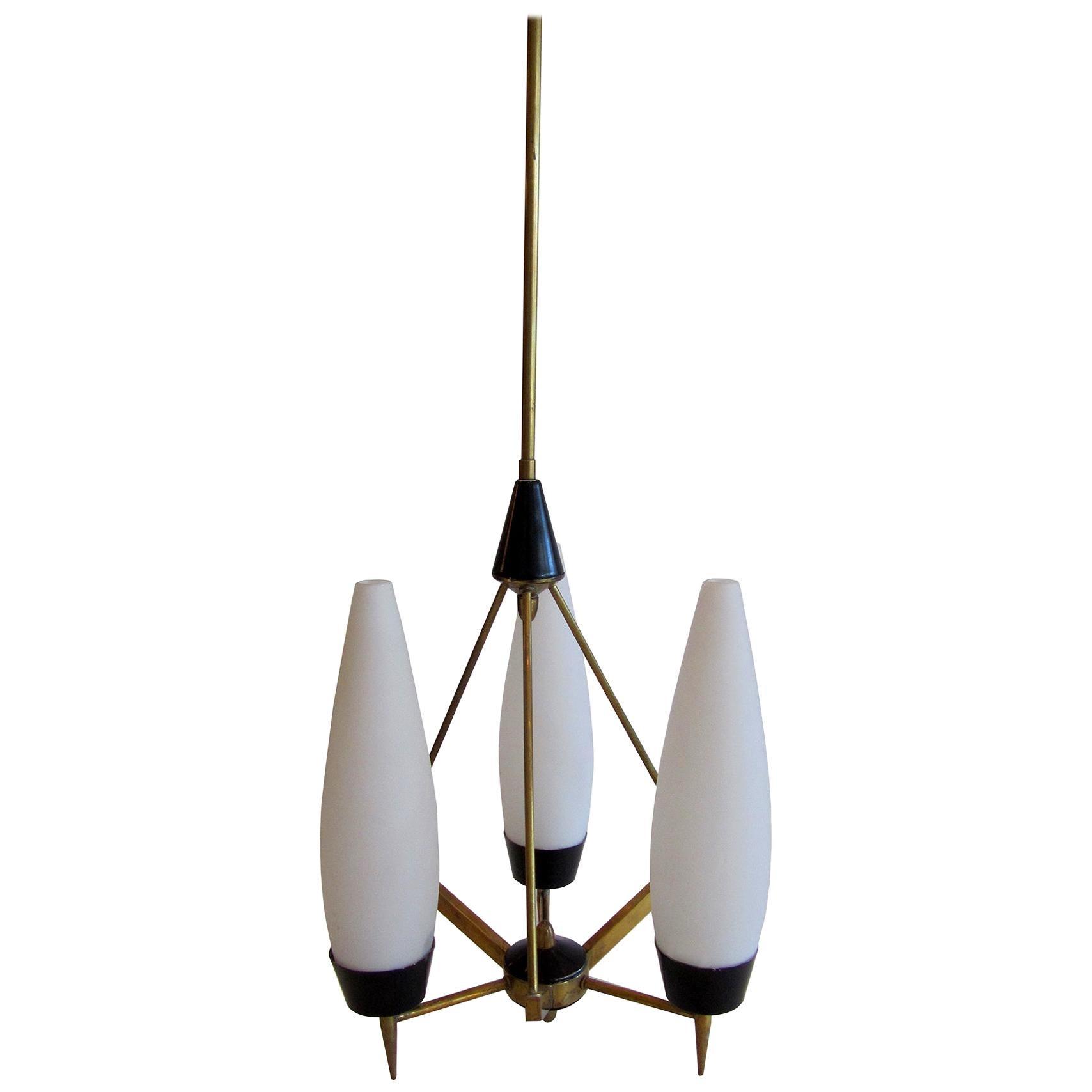 Italian Modern Brass, Glass and Enameled 3-Light Chandelier, Stilnovo