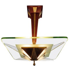 Italian Modern Brass, Glass and Walnut Chandelier, Max Ingrand for Saint-Gobain