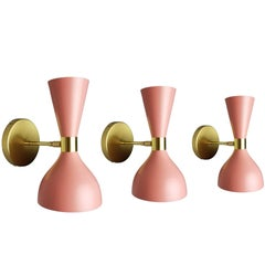 "Italian Modern Brass + Pink Enamel ""Ludo"" Wall Sconce, Blueprint Lighting NYC"