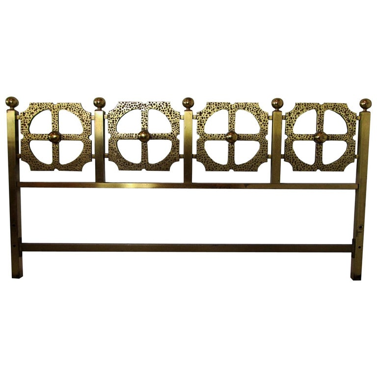 Italian Modern Bronze Hand-Hammered Queen Headboard, Luciano Frigerio For Sale