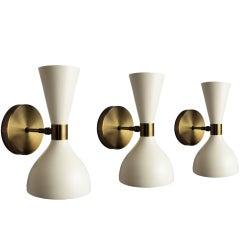 """Italian Modern Bronze + White Enamel """"Ludo"""" Wall Sconce, Blueprint Lighting"""