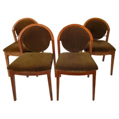Italian Modern Burl Walnut Side Chairs By Colber International-Set of 4