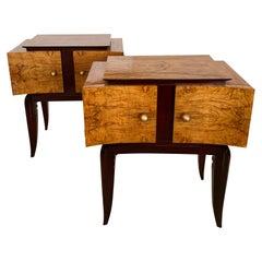 Italian Modern Burled Walnut and Mahogany Bedside Tables, Paolo Buffa
