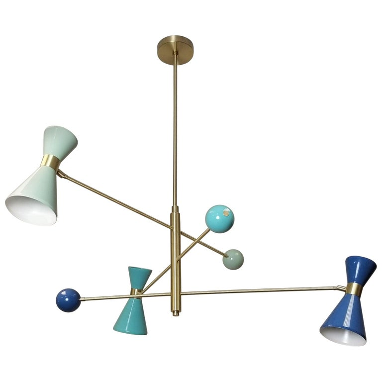 "Italian Modern ""Campana"" Three-Arm Pendant in Brass & Enamel, Blueprint Lighting For Sale"