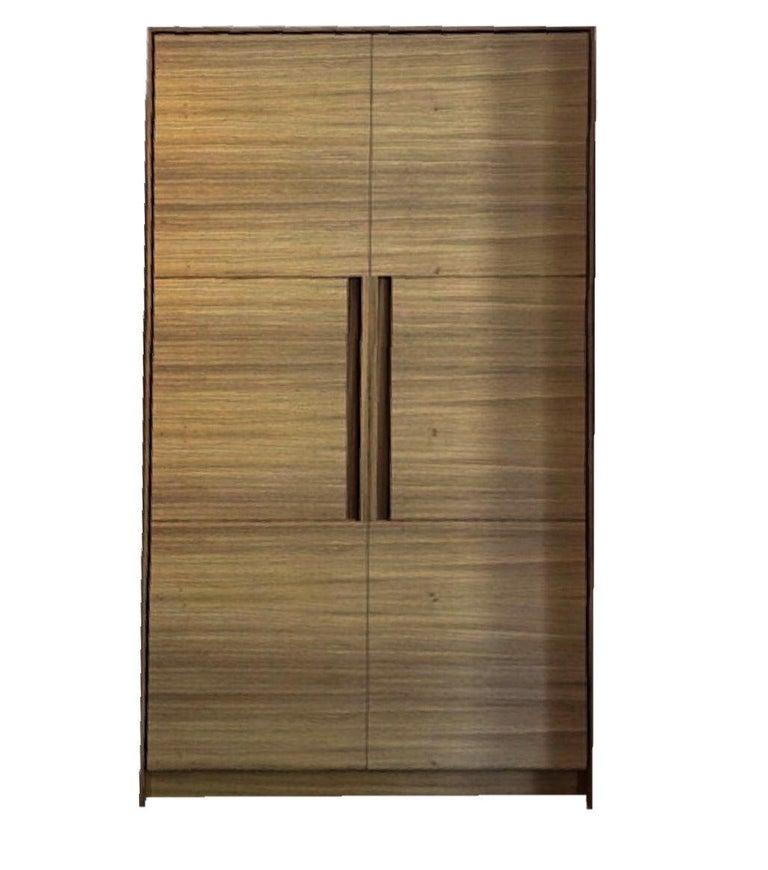 Italian Modern Cni Ab2 Zebra Wood Wardrobe Armoir Minimal Cabinet Dresser In Good Condition For