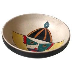 Italian Modern Ceramic Sugar Bowl with Harlequin, 1950s
