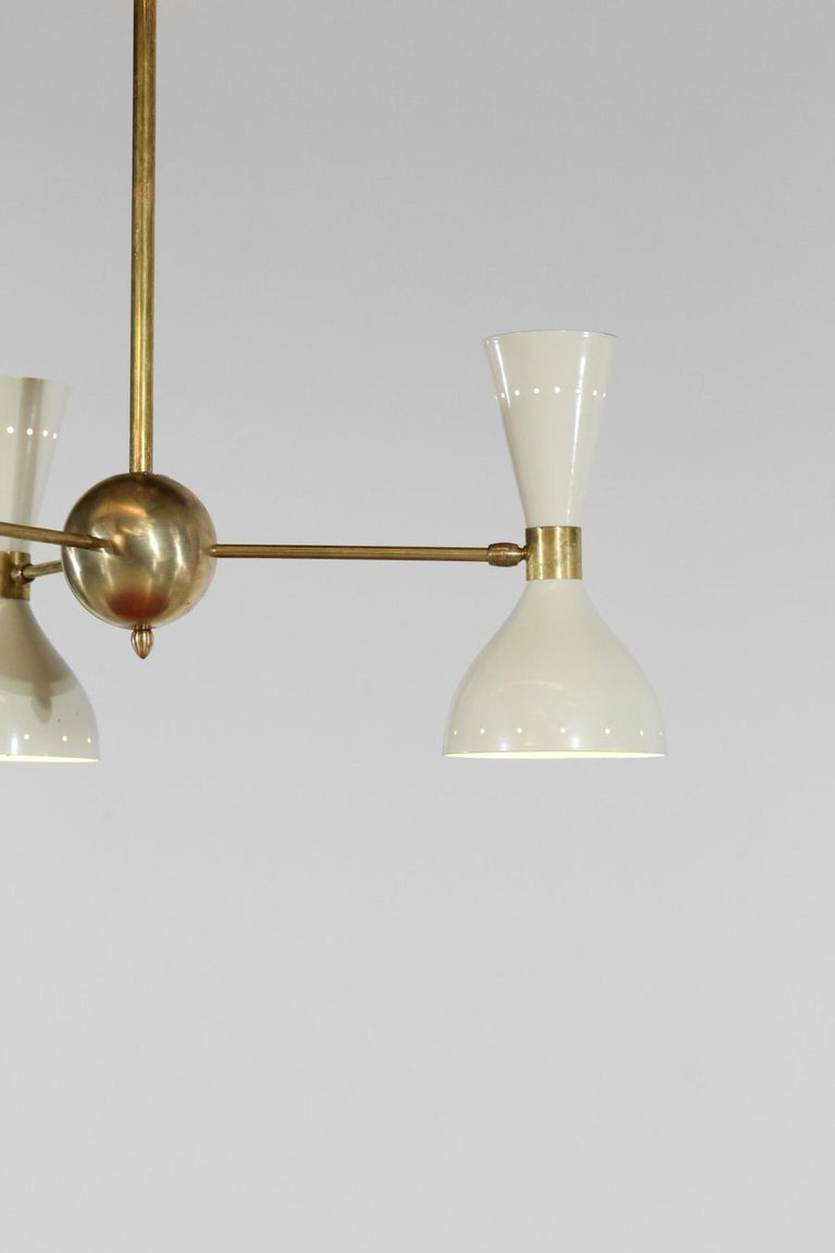Modern chandelier with 3 shades and 6-light with a nice patina. Colors on request.