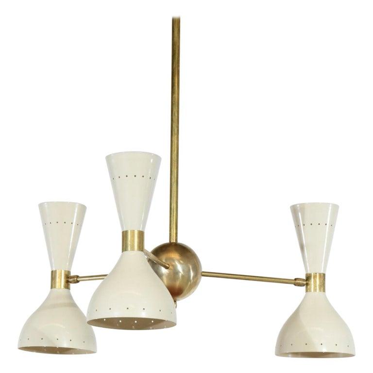 "Italian Modern Chandelier ""Pita"", Off-White Stilnovo Style For Sale"