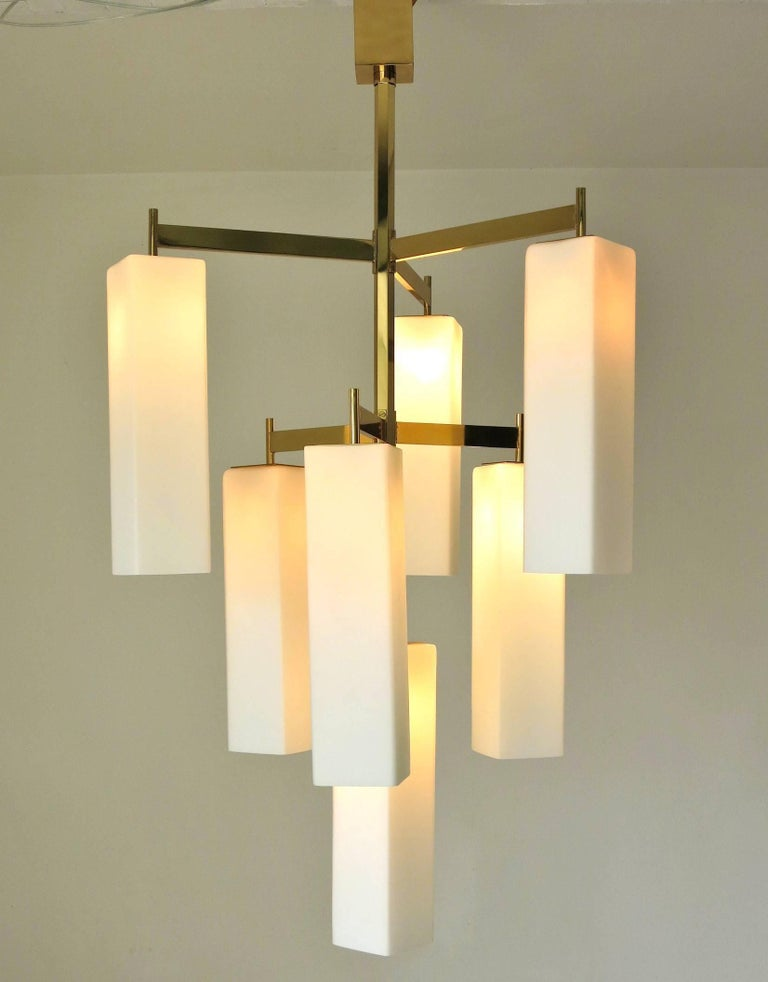 Contemporary Italian Modern Chandelier w/ Frosted White Rectangular Murano Glass, 2017 For Sale
