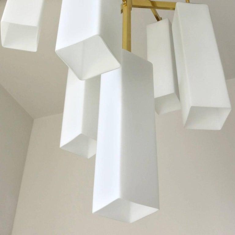 Italian Modern Chandelier w/ Frosted White Rectangular Murano Glass, 2017 For Sale 2