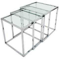 Italian Modern Chromed Steel and Glass Nesting Tables