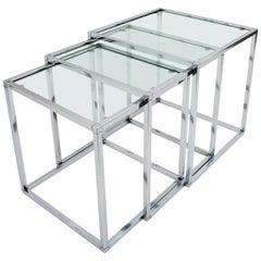 Italian Nesting Tables in Chromed Steel and Glass