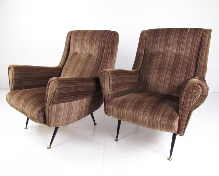 Italian Modern Club Chairs after Gigi Radice, circa 1950s, Italy In Good Condition For Sale In Brooklyn, NY