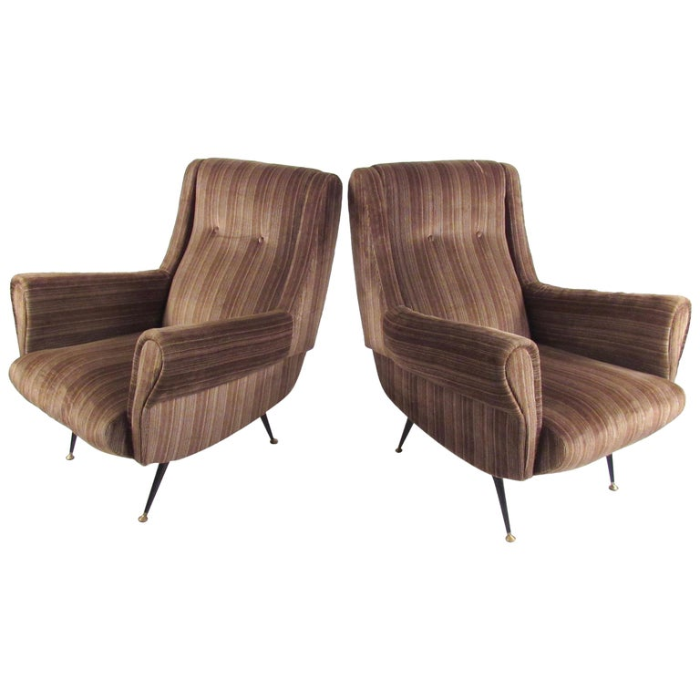 Italian Modern Club Chairs after Gigi Radice, circa 1950s, Italy For Sale