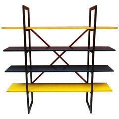 Italian Modern Colored Solid Wood Bookcase, 1980s