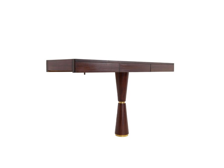 Mid-Century Modern Italian Modern Console in Hard Wood and Brass Attr. to Angelo Mangiarotti, 1960s For Sale