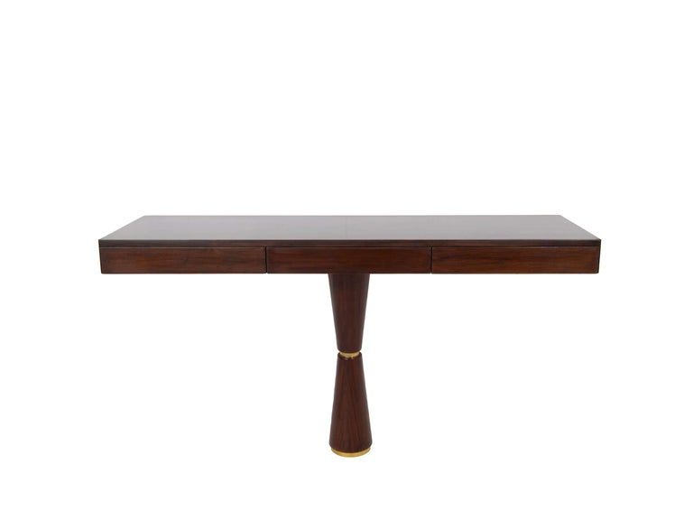 Mid-20th Century Italian Modern Console in Hard Wood and Brass Attr. to Angelo Mangiarotti, 1960s For Sale