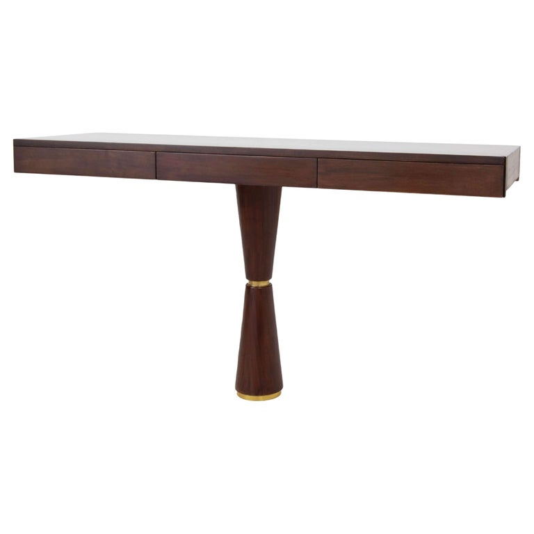 Italian Modern Console in Hard Wood and Brass Attr. to Angelo Mangiarotti, 1960s For Sale